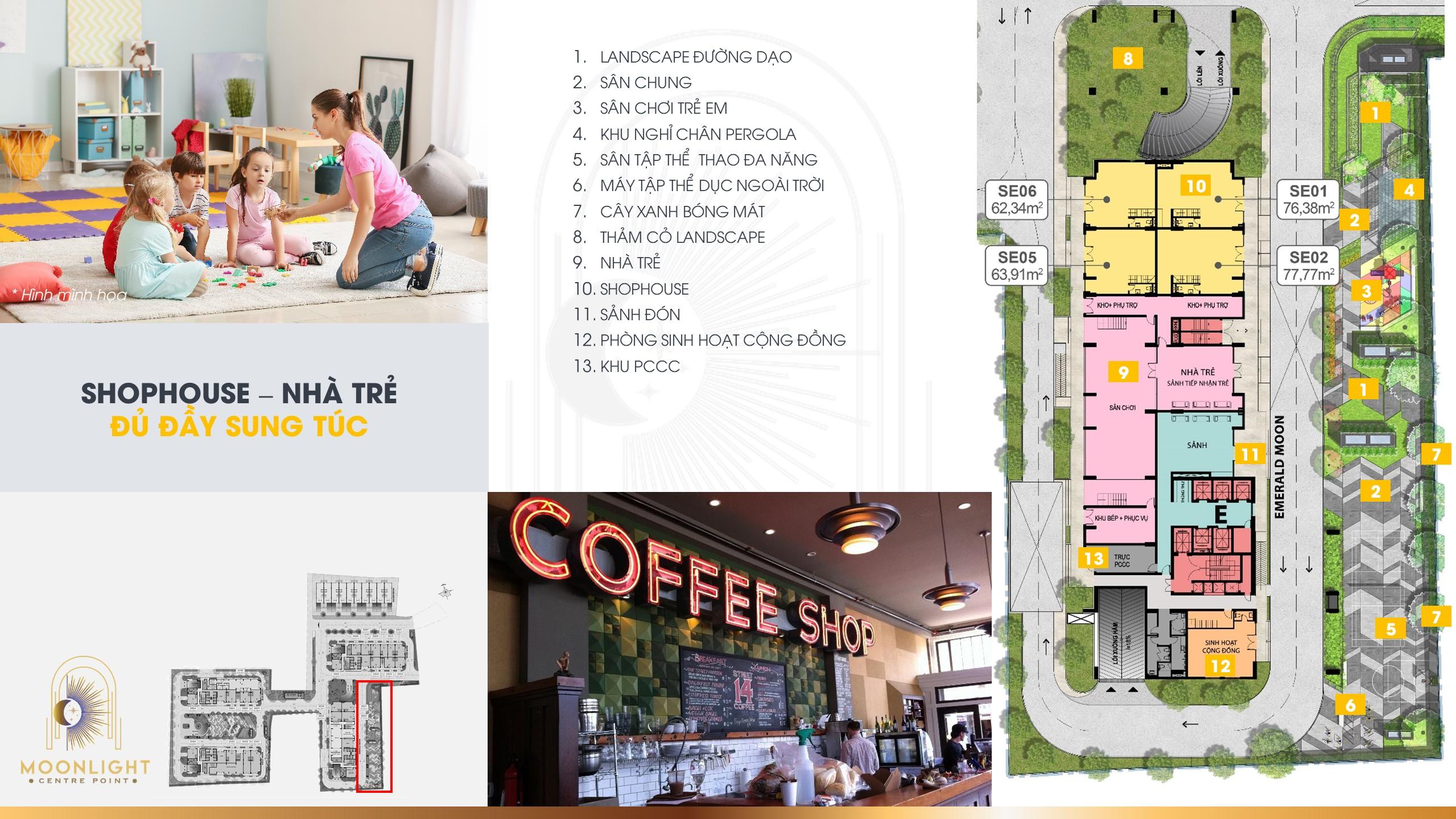 """Trãi nghiệm với không gian mua sắm tại các khu Shophouse và không gian """" Nhà trẻ """" đầy đủ sung túc"""