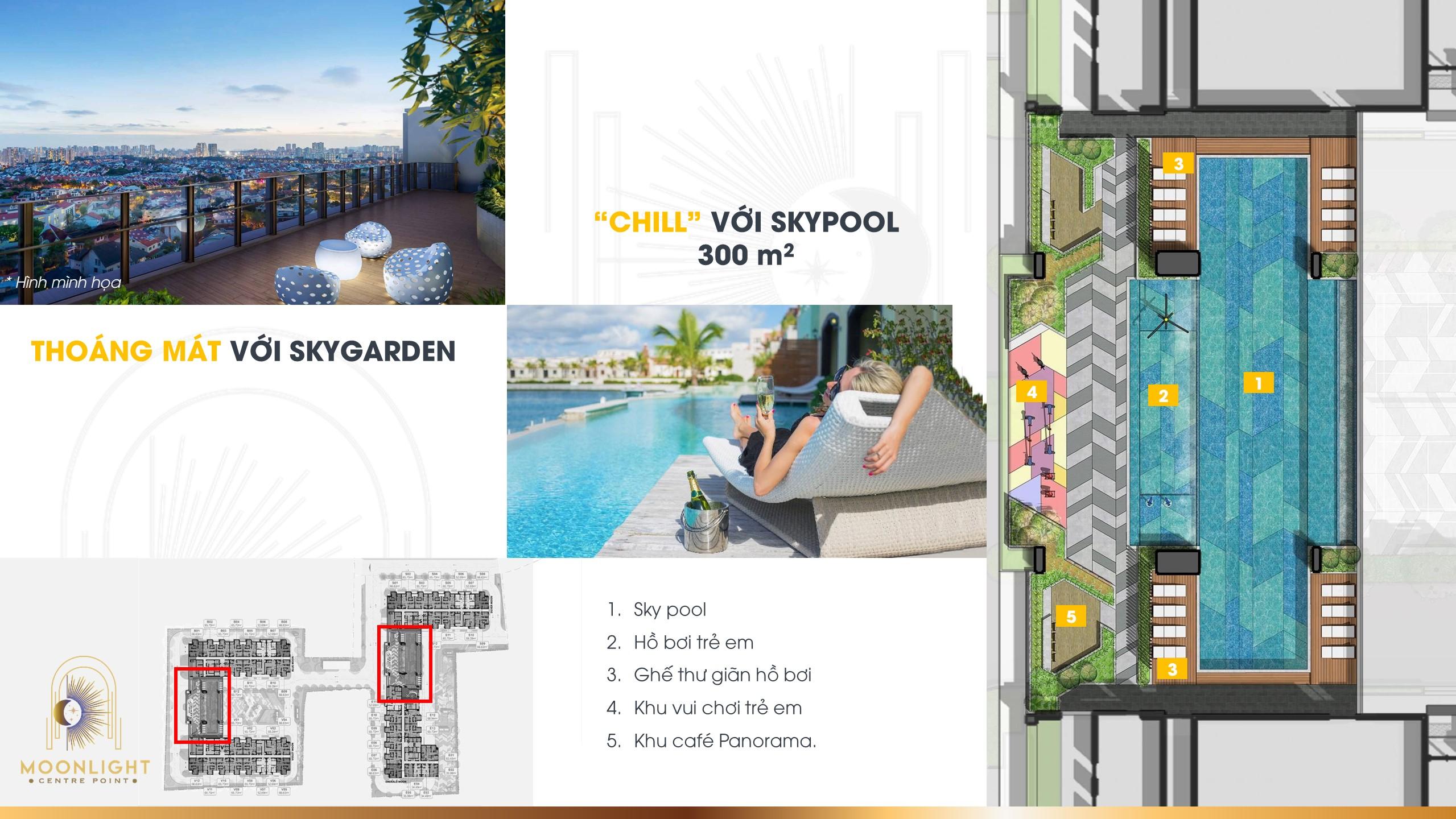 """Thư giản thoáng mát với Cafe """"Skygraden """" và Chill với hồ bơi """" Skypool"""" 300m2"""